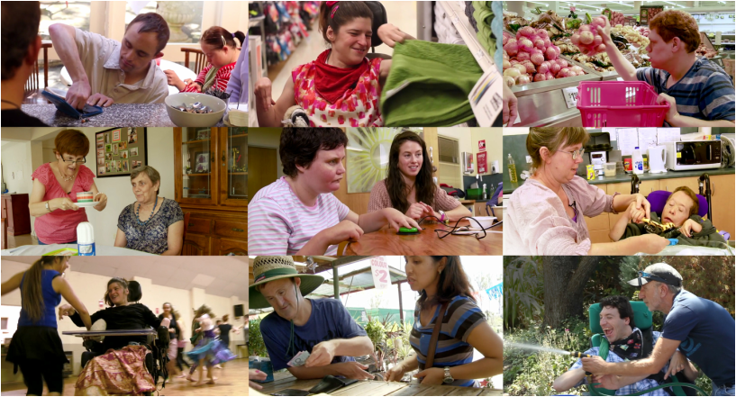 Mosaic of 9 images of people with intellectual disability participating in a range of activities at home and in the community.